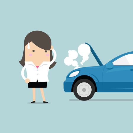 blacktop: Businesswoman have a force majeure, a car broke down. vector