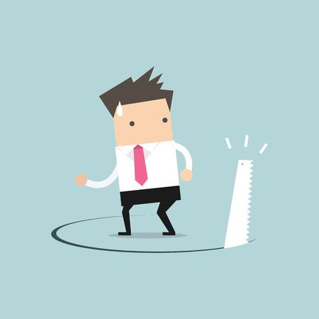 pit fall: Businessman has ground cut beneath him. Illustration