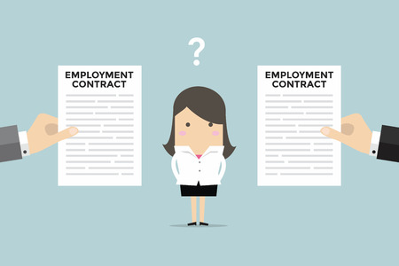 indenture: Businesswoman with two employment contract offer from two companies. vector Illustration