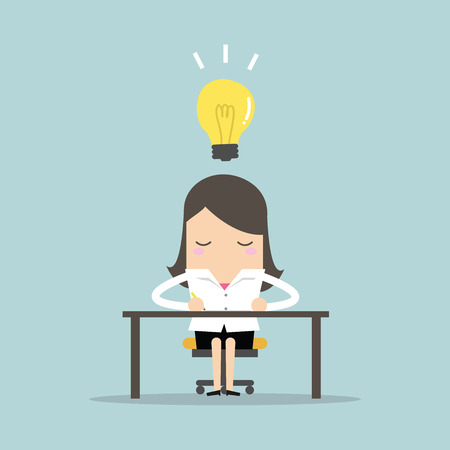 Businesswoman sketch his work on paper with light bulb ideas. vector Illustration