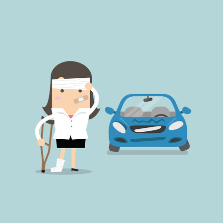 surety: Businesswoman be injured with car accident vector