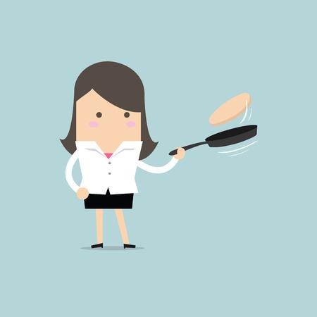 Businesswoman making fresh pancakes on breakfast vector