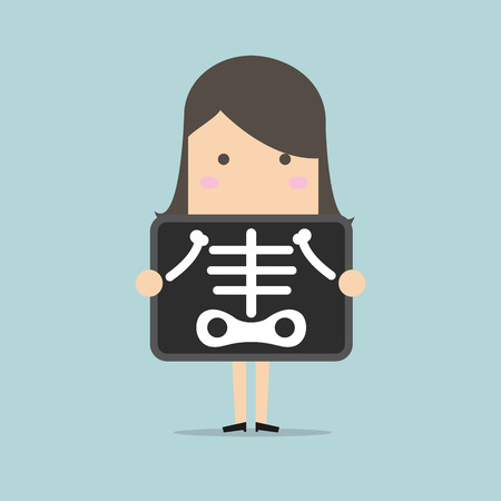 skeptical: Businesswoman is getting x-ray examination vector Illustration