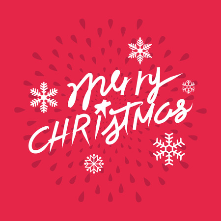 Merry Christmas hand lettering. vector