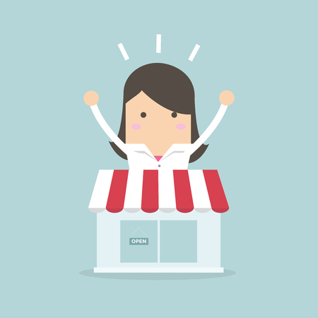 Businesswoman standing behind the shop vector Illustration