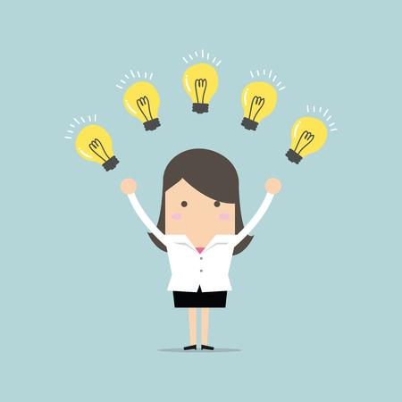 Femme d'affaires avec de nombreuses nouvelles idées. Vecteur concept métier Banque d'images - 67679861
