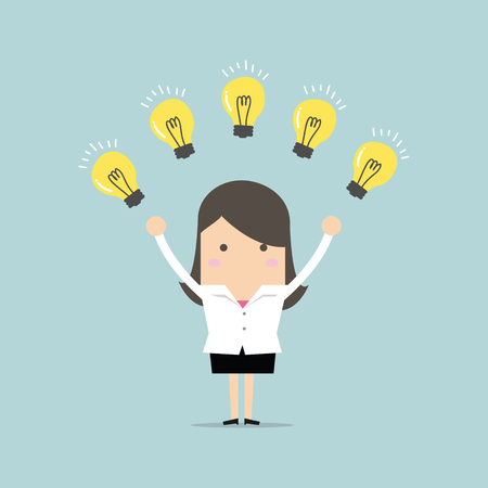 Businesswoman with many new ideas. Business concept vector