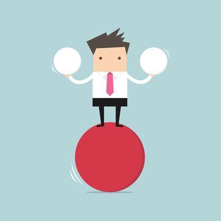 Homme d'affaires équilibrant sur une balle rouge tenant deux sphères. Vecteurs
