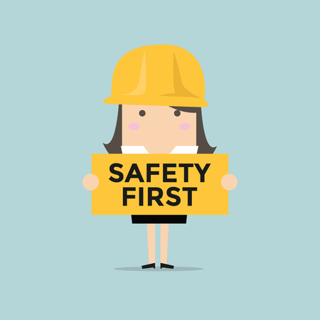 safety first: Businesswoman holding safety first sign vector