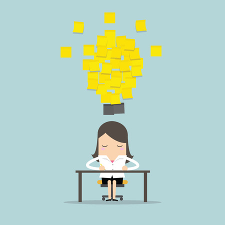 Businesswoman working with yellow stick note light bulb idea. vector
