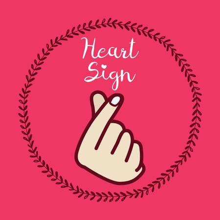 Koreaans symbool hand hart, een bericht van liefde hand gebaar. Teken icoon gestileerd voor het web en afdrukken. De hand vouwde in een hartsymbool. Vector Illustratie