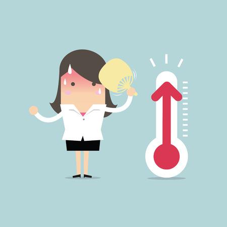 Geschäftsfrau sehr heiß, weil erhöhte Temperatur