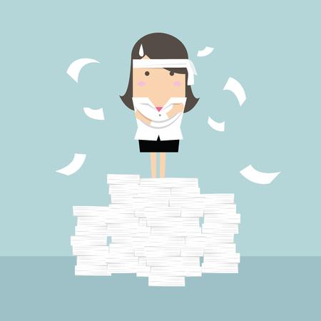 frazzled: Businesswoman standing on paperwork vector