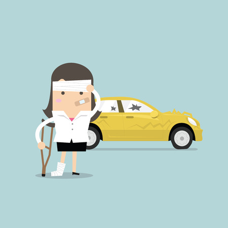 Businesswoman be injured with car accident vector