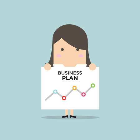 Businesswoman shows a business plan. Vector