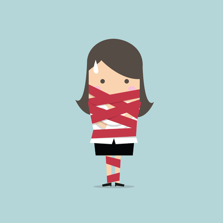 red tape: Businesswoman caught in red tape vector Illustration