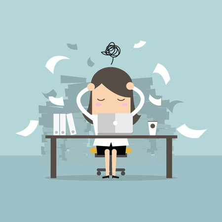 Busy time of businesswoman in hard working. A lot of work. Stress at work. vector Stock Illustratie
