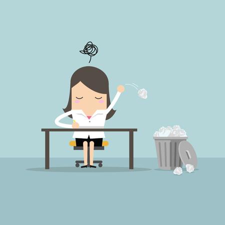 実業家には、アイデアとゴミ箱に紙を丸めて投げるがあります。ベクトル