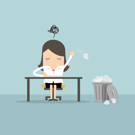 Businesswoman have no idea and throwing crumpled paper to trash. vector Stock Illustratie