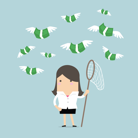 Businesswoman catch flying coins. vector