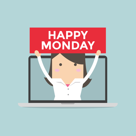 happy business team: Businesswoman holding Happy Monday sign in computer notebook
