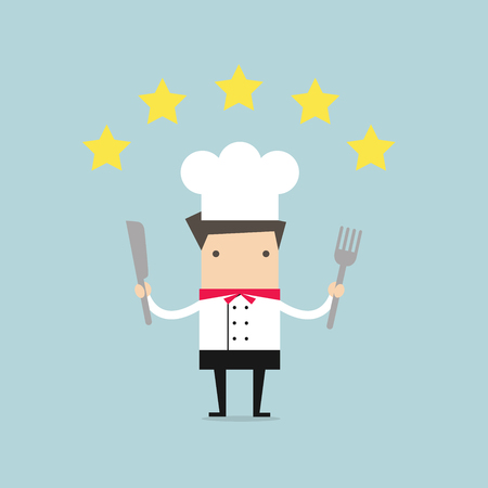 Cook chef with five star rating. vector Illustration