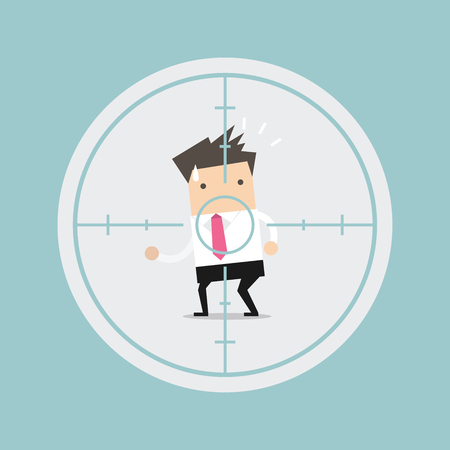 concerned: Businessman in crosshairs vector