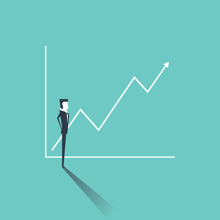 Businessman looking at a graph with sales or profit going up. Positive trend symbol of success. Business concept vector. Illustration
