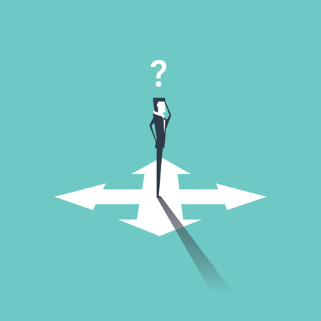 indecisive: Confused businessman standing on crossroads and choosing way. vector Illustration