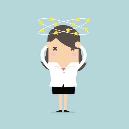 Businesswoman with stars spinning around his head. vector Illustration
