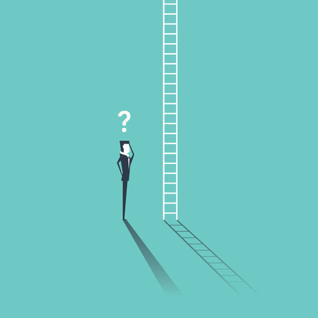 Businessman looking at a ladder going up the cloud with a question mark above his head. Business concept and metaphor for corporate ladder. Illustration