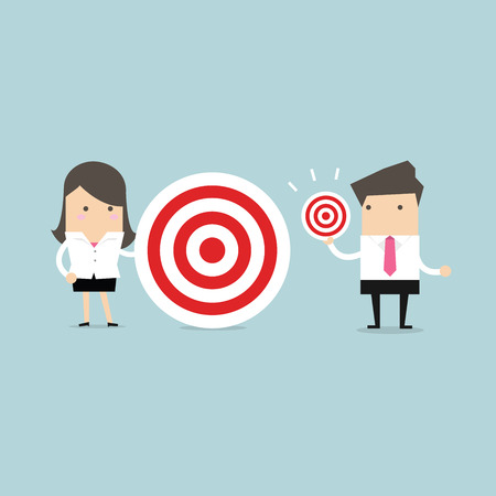 Businesswoman and Businessman with different target big and small Illustration