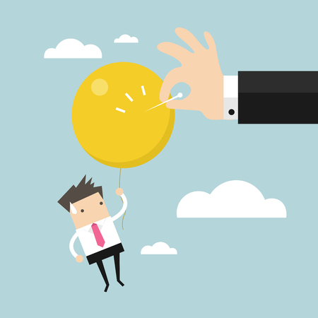 hinder: Businessman hand pushing needle to pop the balloon. vector Illustration