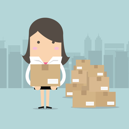 Businesswoman holding a box for shipping, vector