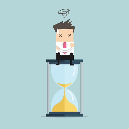 Businessman sitting on hourglass. deadline concept. vector