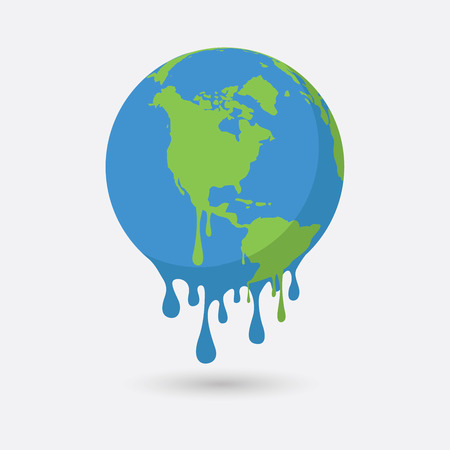 mapa conceptual: Global warming, Graphic illustration of a melting earth. Vectores