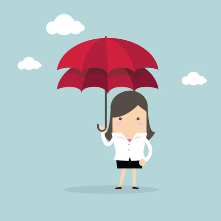 surety: Businesswoman with double umbrella, Business Concepts Illustration
