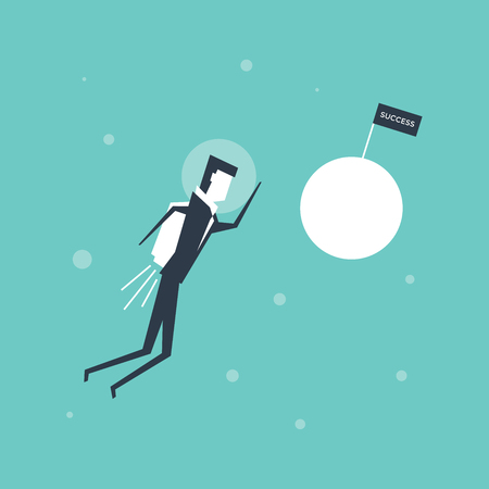Businessman flying to successful entrepreneurs planet. vector