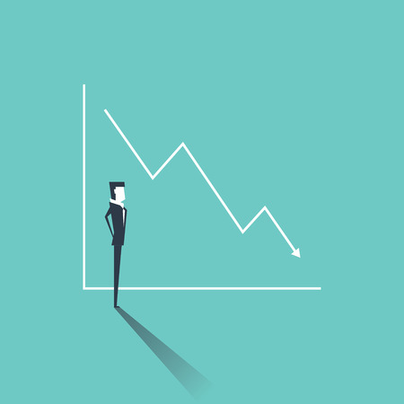 Businessman looking at a graph with sales or profit fall. Negative trend, symbol of failure, bankruptcy. Business concept vector. Ilustrace