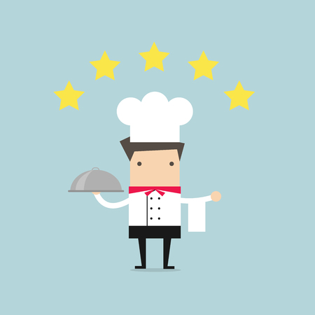 serving tray: Cook chef holding hot plate with five star rating. vector