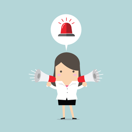 Businesswoman holding megaphone with siren in speech bubble. Emergency concept. vector
