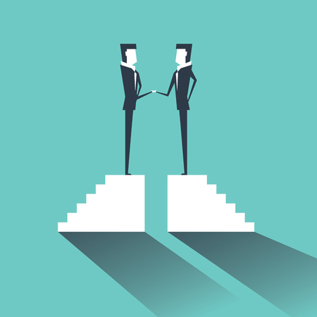 Business deal with two businessmen handshake. Partnership concept vector.
