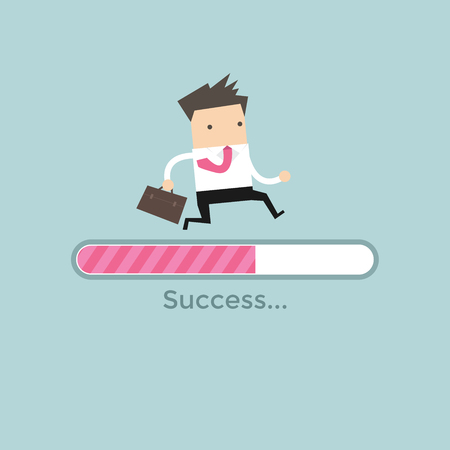Businessman run on progress loading bar, Success concept. 矢量图像