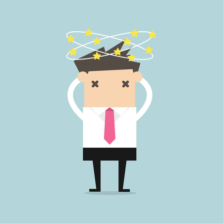 Businessman with stars spinning around his head. Illustration