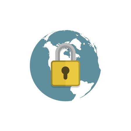 Globe with padlock sign. Secure global network symbol. vector Illustration