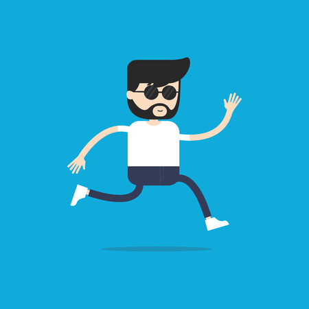 Hipster man with the beard running. vector