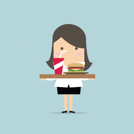 Businesswoman carrying a tray of food. vector Иллюстрация