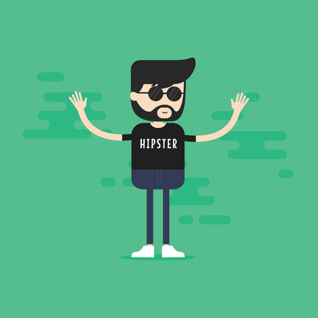 geeky: Hipster cartoon character. vector Illustration