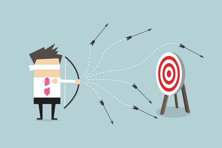 Blindfold businessman loser shooting arrow. vector