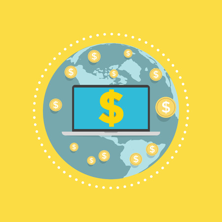 Laptop screen with the dollar sign on globe. vector Illustration